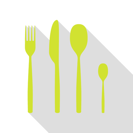 Fork spoon and knife sign. Pear icon with flat style shadow path. Illustration