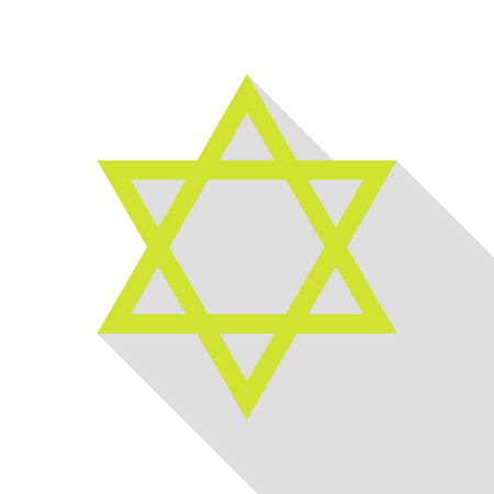 Shield Magen David Star. Symbol of Israel. Pear icon with flat style shadow path. Illustration