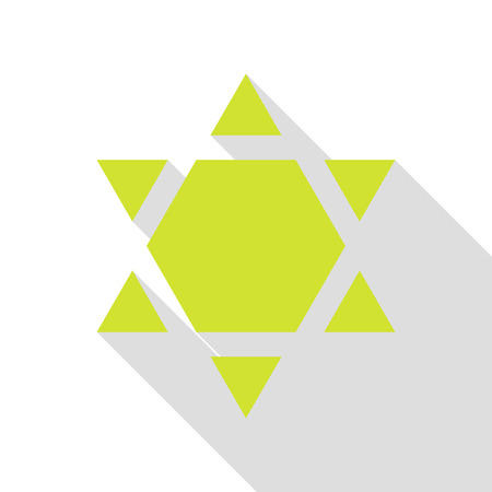 Shield Magen David Star Inverse. Symbol of Israel inverted. Pear icon with flat style shadow path.
