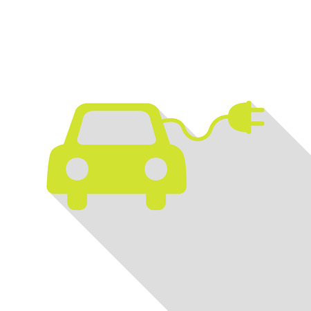 echnology: Eco electric car sign. Pear icon with flat style shadow path. Illustration