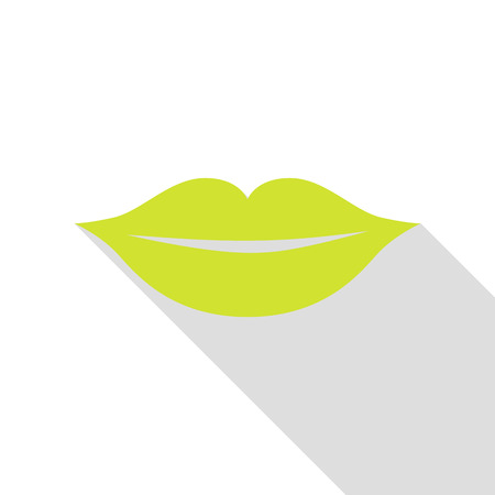 Lips sign illustration. Pear icon with flat style shadow path. Illustration