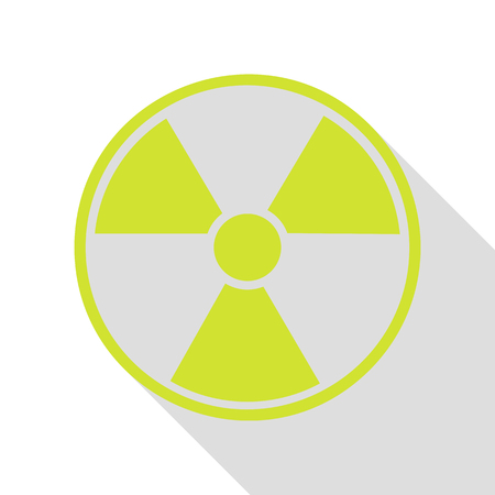 radiological: Radiation Round sign. Pear icon with flat style shadow path. Illustration