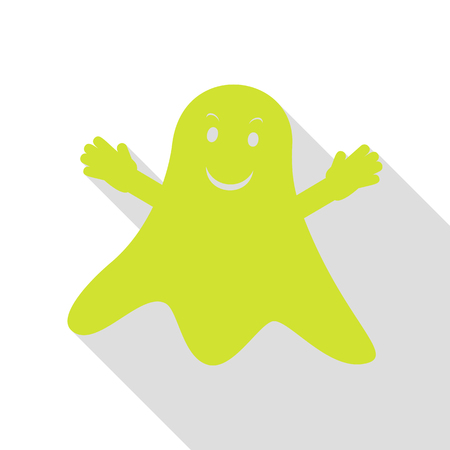 Ghost isolated sign. Pear icon with flat style shadow path.