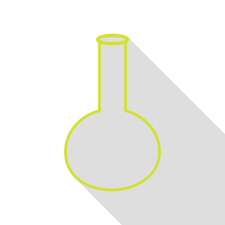 hipotesis: Tube. Laboratory glass sign. Pear icon with flat style shadow path. Vectores