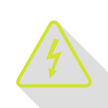 voltage sign: High voltage danger sign. Pear icon with flat style shadow path. Illustration