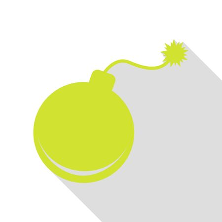 Bomb sign illustration. Pear icon with flat style shadow path.
