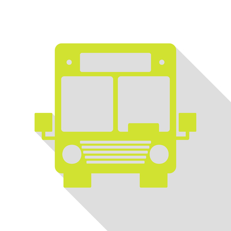 Bus sign illustration. Pear icon with flat style shadow path.