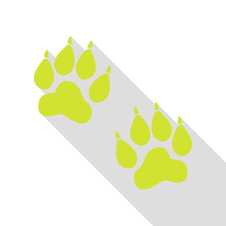 impression: Animal Tracks sign. Pear icon with flat style shadow path.