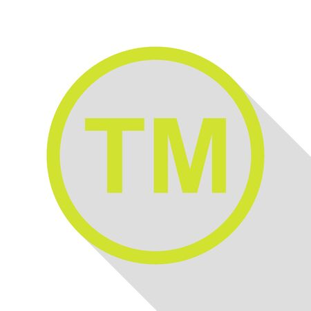 Trade mark sign. Pear icon with flat style shadow path.