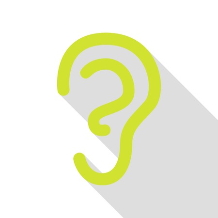 audible: Human ear sign. Pear icon with flat style shadow path.