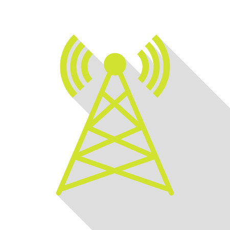 tv tower: Antenna sign illustration. Pear icon with flat style shadow path.