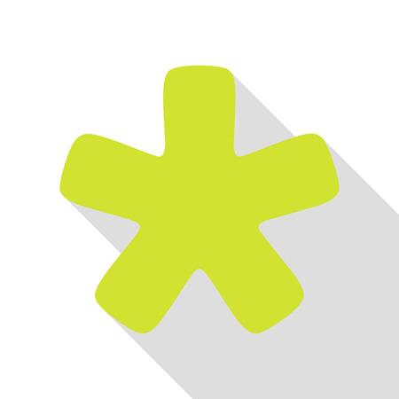 Asterisk star sign. Pear icon with flat style shadow path. Ilustração
