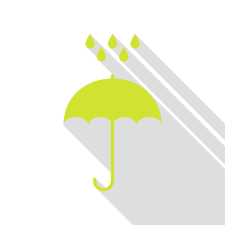 Umbrella with water drops. Rain protection symbol. Flat design style. Pear icon with flat style shadow path.
