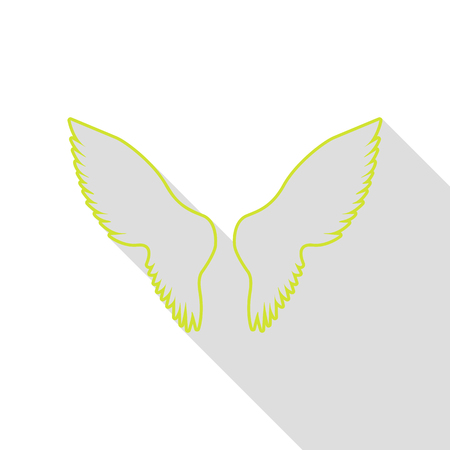 Wings sign illustration. Pear icon with flat style shadow path. Illustration
