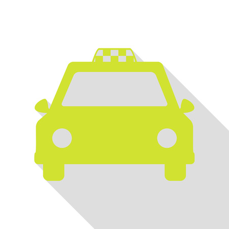 Taxi sign illustration. Pear icon with flat style shadow path.