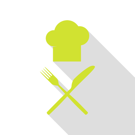 Chef with knife and fork sign. Pear icon with flat style shadow path.