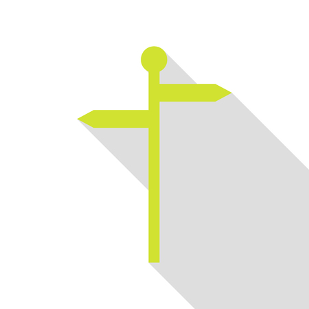 Direction road sign. Pear icon with flat style shadow path. Illustration