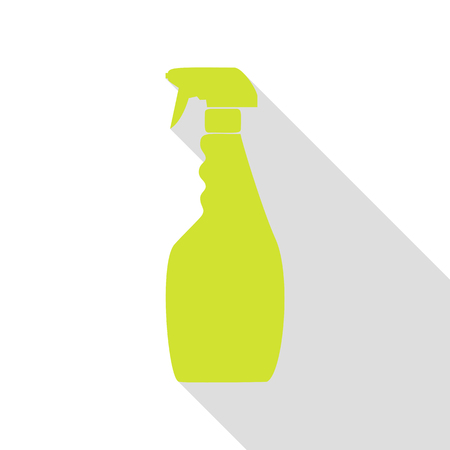 Plastic bottle for cleaning. Pear icon with flat style shadow path.