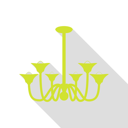 Chandelier simple sign. Pear icon with flat style shadow path. Illustration