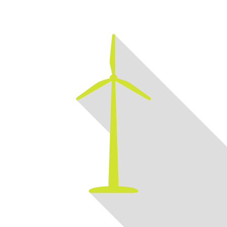 Wind turbine logo or sign. Pear icon with flat style shadow path. Illustration