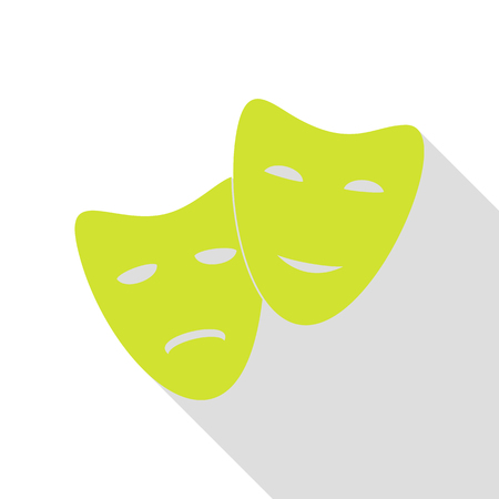 Theater icon with happy and sad masks. Pear icon with flat style shadow path.