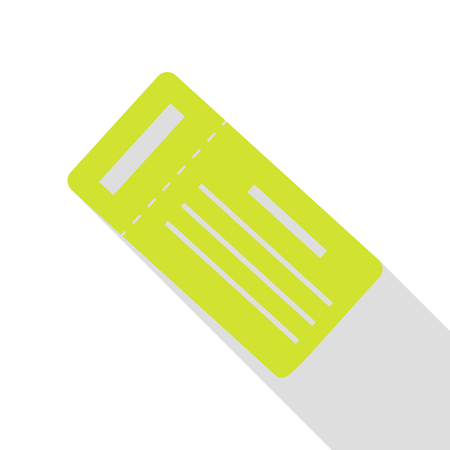 Ticket simple sign. Pear icon with flat style shadow path.