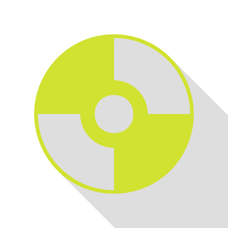 dvd: Vector CD or DVD sign. Pear icon with flat style shadow path. Illustration
