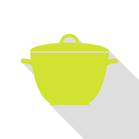 Saucepan simple sign. Pear icon with flat style shadow path. Illustration