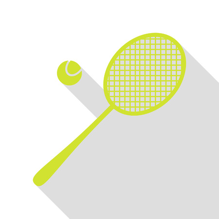 Tennis racquet sign. Pear icon with flat style shadow path.