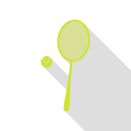handled: Tennis racquet sign. Pear icon with flat style shadow path.