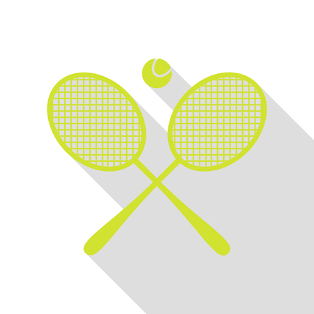 Tennis racket sign. Pear icon with flat style shadow path. Illustration