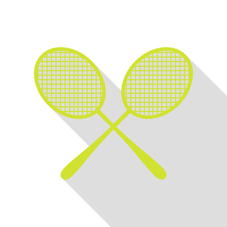 Tennis racquets sign. Pear icon with flat style shadow path. Illustration