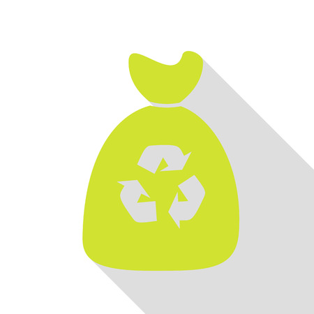 segregate: Trash bag icon. Pear icon with flat style shadow path. Illustration