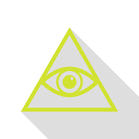 an amulet: All seeing eye pyramid symbol. Freemason and spiritual. Pear icon with flat style shadow path.