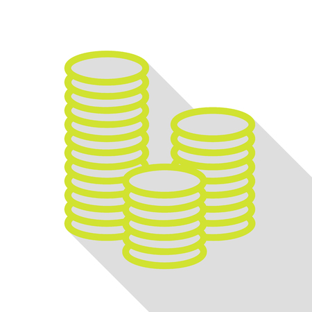 Money sign illustration. Pear icon with flat style shadow path.