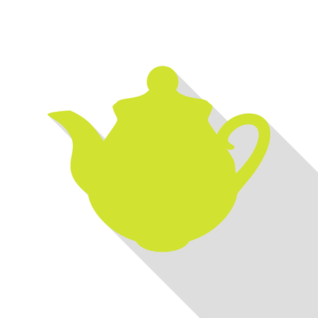 Tea maker Kitchen sign. Pear icon with flat style shadow path.