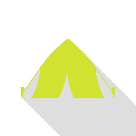 category: Tourist tent sign. Pear icon with flat style shadow path.