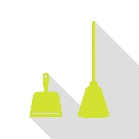 Dustpan vector sign. Scoop for cleaning garbage housework dustpan equipment. Pear icon with flat style shadow path.