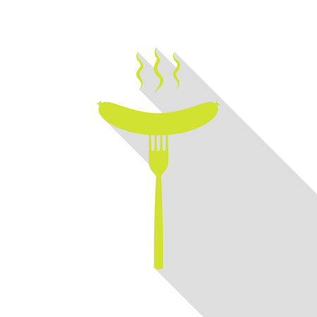 Sausage on fork sign. Pear icon with flat style shadow path.