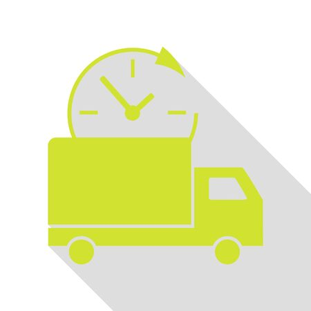 semitruck: Delivery sign illustration. Pear icon with flat style shadow path.