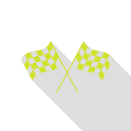 Crossed checkered flags logo waving in the wind conceptual of motor sport. Pear icon with flat style shadow path.