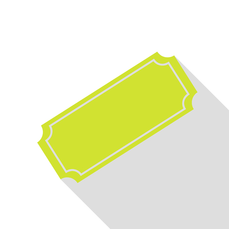 Ticket sign illustration. Pear icon with flat style shadow path.