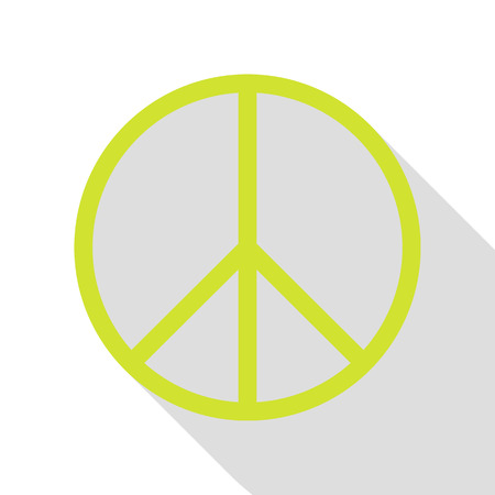 brushwork: Peace sign illustration. Pear icon with flat style shadow path.