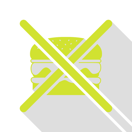 No burger sign. Pear icon with flat style shadow path. Ilustração