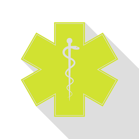 Medical symbol of the Emergency or Star of Life. Pear icon with flat style shadow path. Illustration