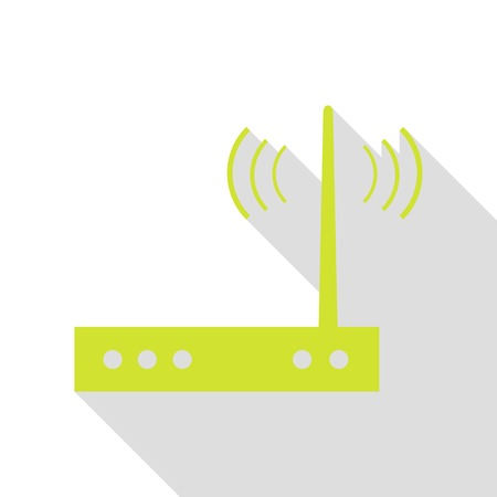 Wifi modem sign. Pear icon with flat style shadow path. Иллюстрация
