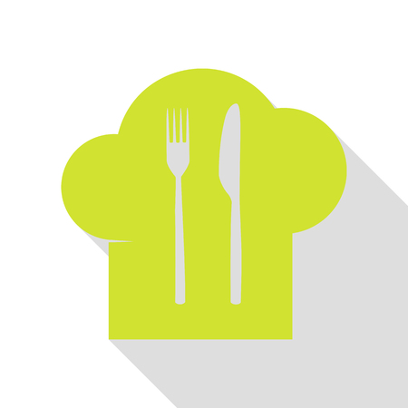 Chef hat and spoon, fork, knife sign. Pear icon with flat style shadow path.