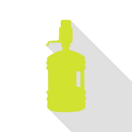 siphon: Plastic bottle silhouette with water and siphon. Pear icon with flat style shadow path. Illustration