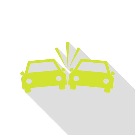 crashed: Crashed Cars sign. Pear icon with flat style shadow path. Illustration