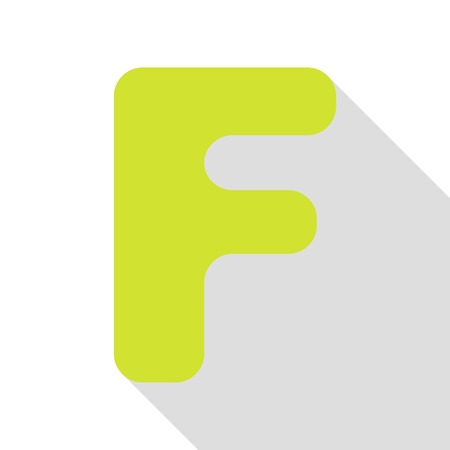 Letter F sign design template element. Pear icon with flat style shadow path.